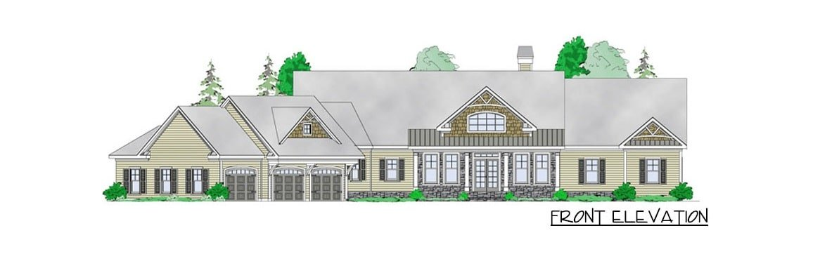Front elevation sketch of the 5-bedroom single-story mountain ranch.
