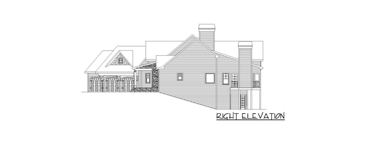 Right elevation sketch of the 5-bedroom single-story mountain ranch.