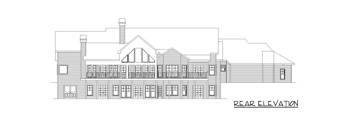 Rear elevation sketch of the 5-bedroom single-story mountain ranch.