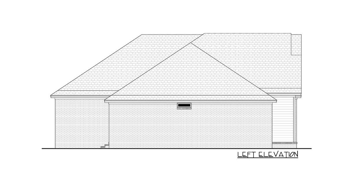 Left elevation sketch of the 5-bedroom single-story New American home.