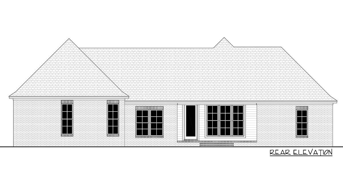 Rear elevation sketch of the 5-bedroom single-story New American home.