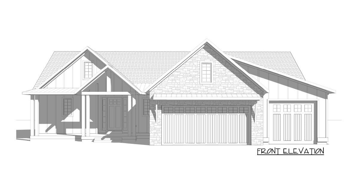 Front elevation sketch of the 5-bedroom single-story New American home.