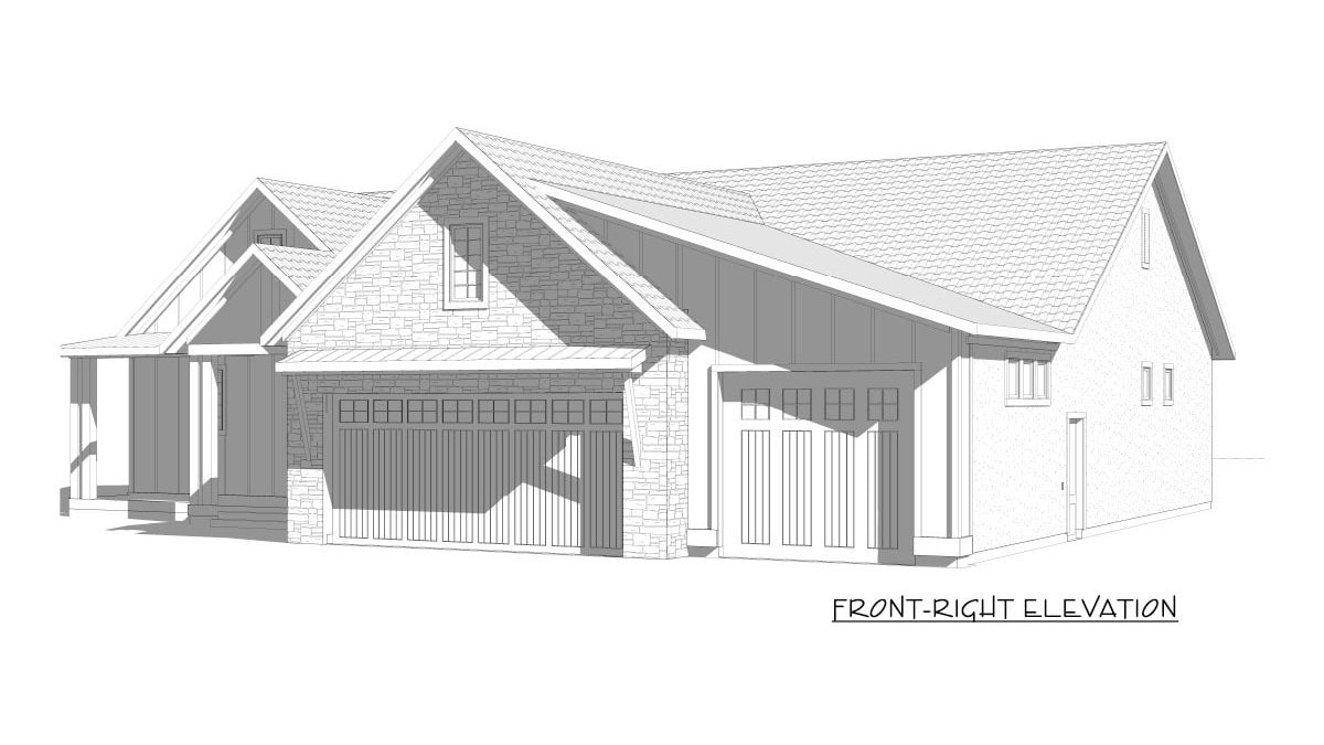 Front-right elevation sketch of the 5-bedroom single-story New American home.