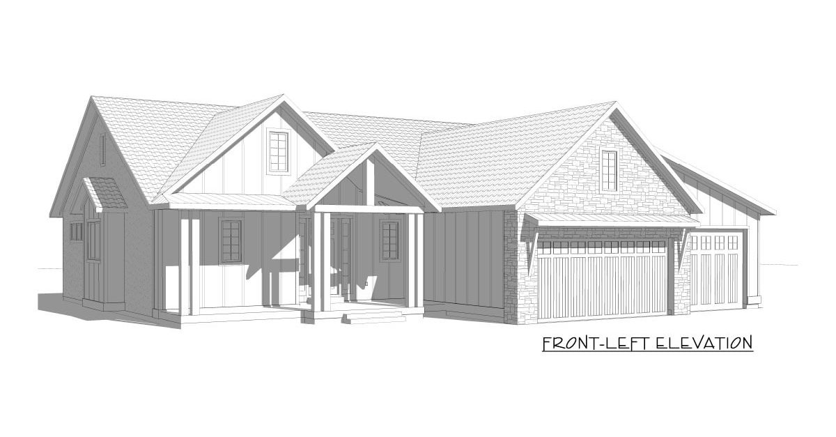 Front-left elevation sketch of the 5-bedroom single-story New American home.