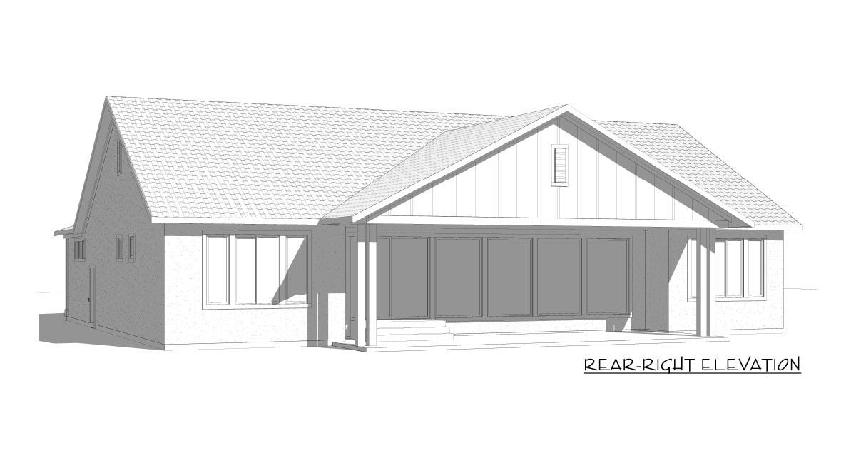 Rear-right elevation sketch of the 5-bedroom single-story New American home.