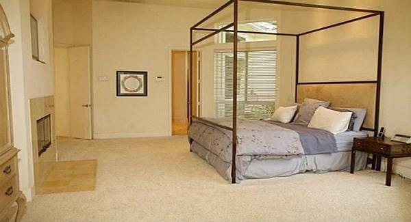 The primary bedroom has a canopy bed, dark wood nightstand, and a glass-enclosed fireplace.