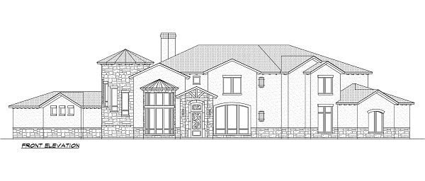 Front elevation sketch of the 5-bedroom two-story Miramar European style home.