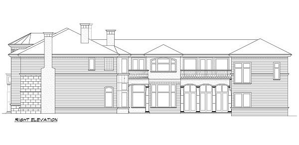 Right elevation sketch of the 5-bedroom two-story Miramar European style home.