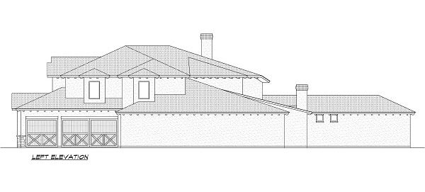 Left elevation sketch of the 5-bedroom two-story Miramar European style home.