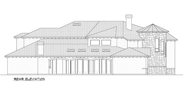 Rear elevation sketch of the 5-bedroom two-story Miramar European style home.