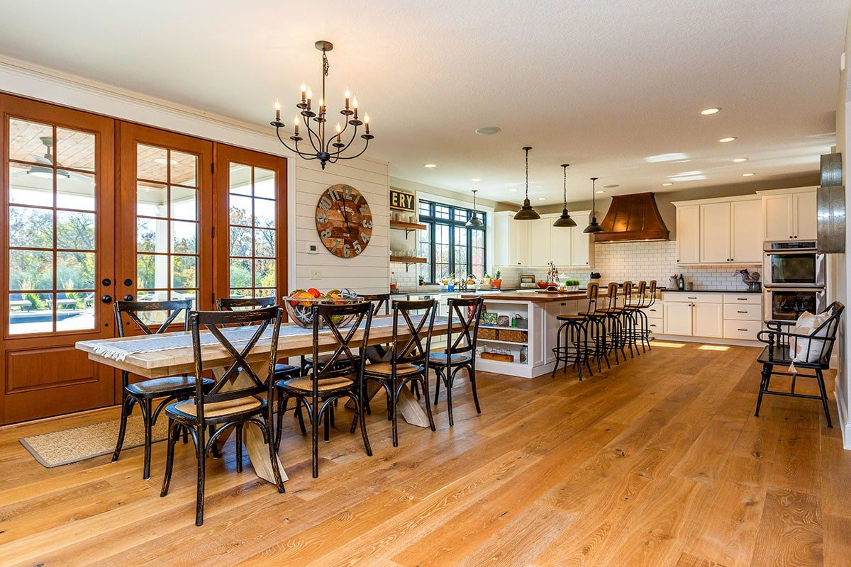 The french door in the dining area takes you to the covered porch.