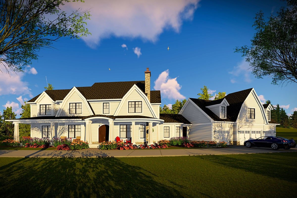 Front rendering of the 5-bedroom two-story modern farmhouse.