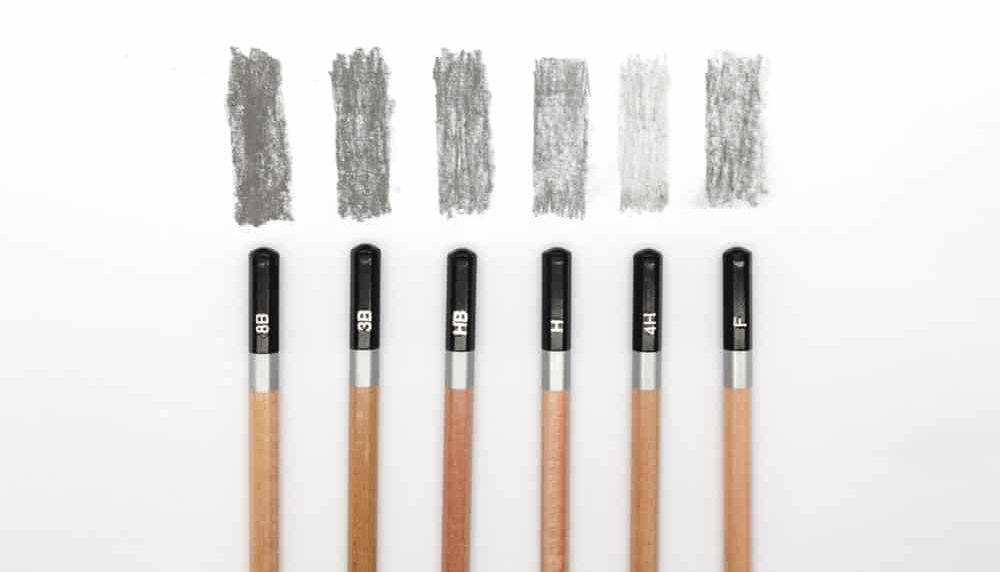 5H pencils with their respective shades.