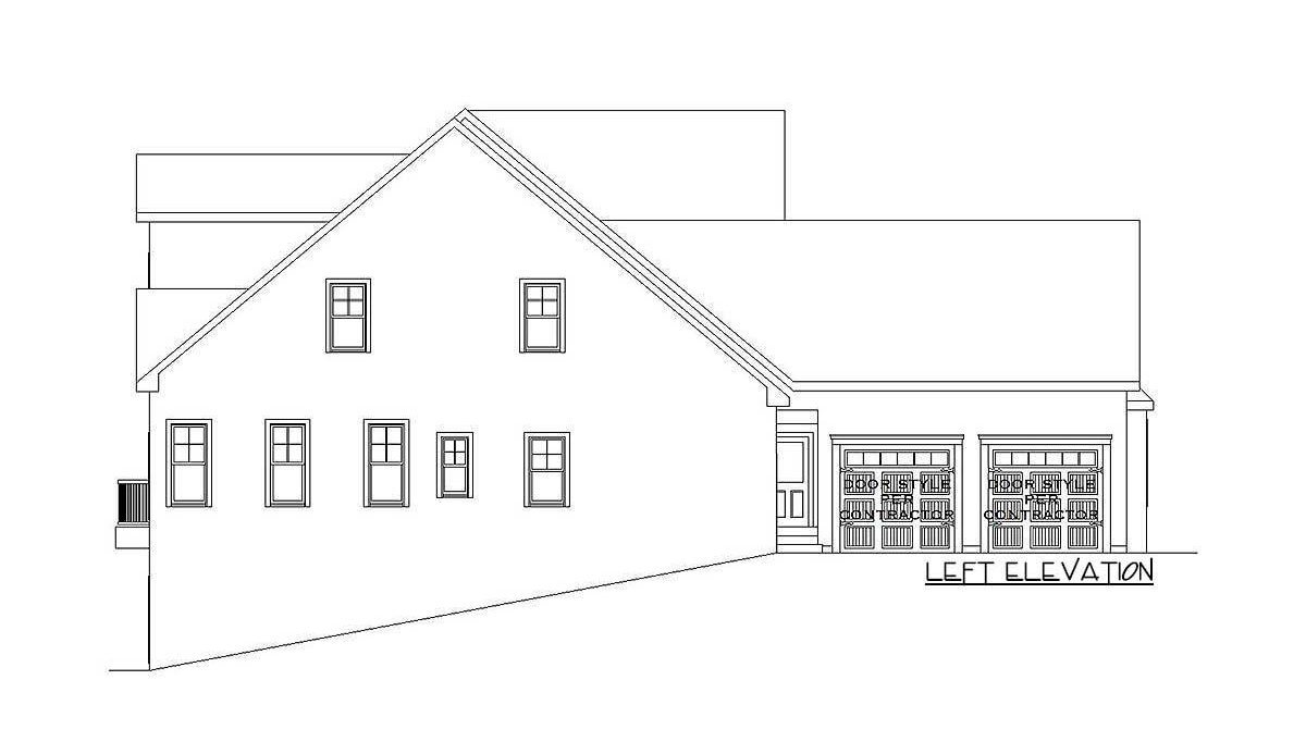Left elevation sketch of the 6-bedroom two-story craftsman home.