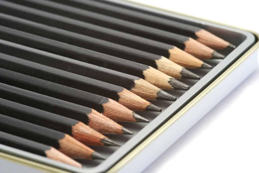 6H pencils on a pencil case.