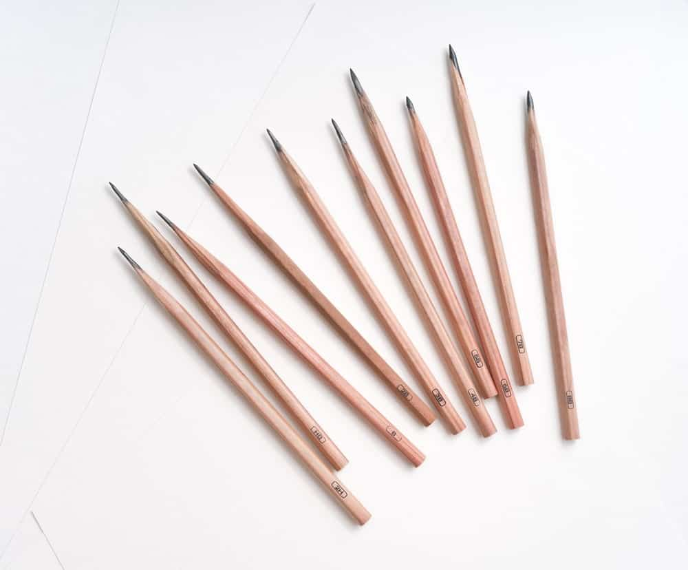 8B pencils against white background.