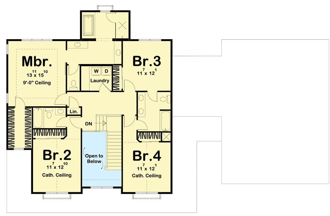 Second level floor plan with four bedrooms and a loft that overlooks down the foyer.