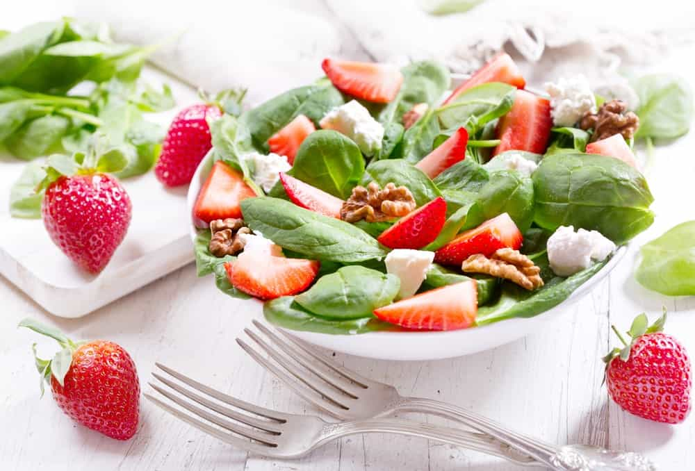 Salad with Allstar strawberries.
