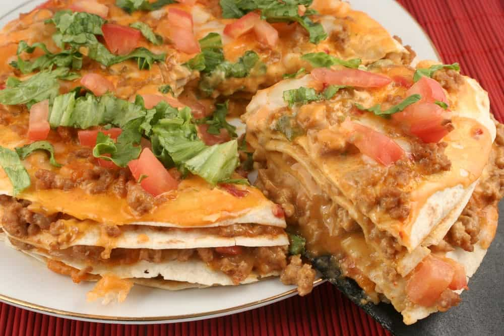 A plate of taco pizza
