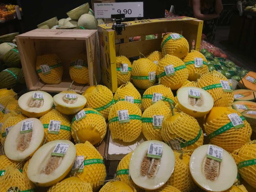 Apollo melon stall on the market.