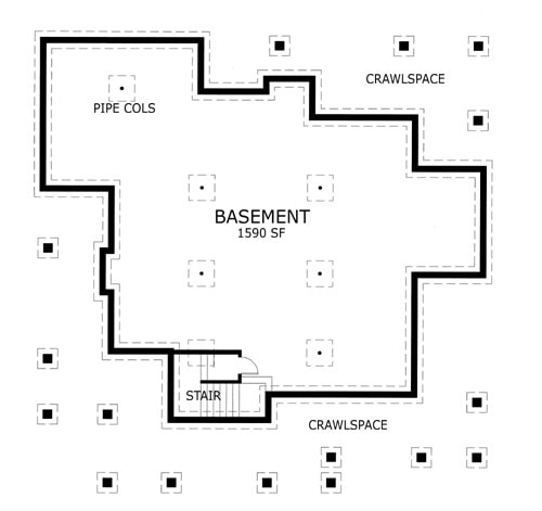 Basement floor plan showing the crawlspace, pipe cols, and large expansion space.