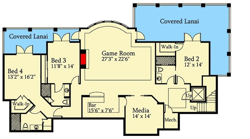 Basement floor plan with two bedrooms, a media room, and a game room with a wet bar.