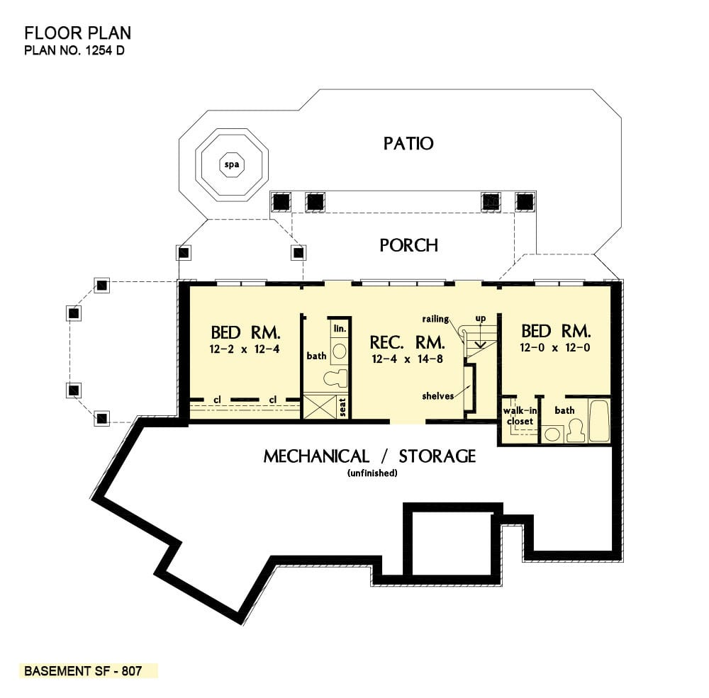 Basement floor plan with two bedrooms, recreational room, and plenty of storage space.