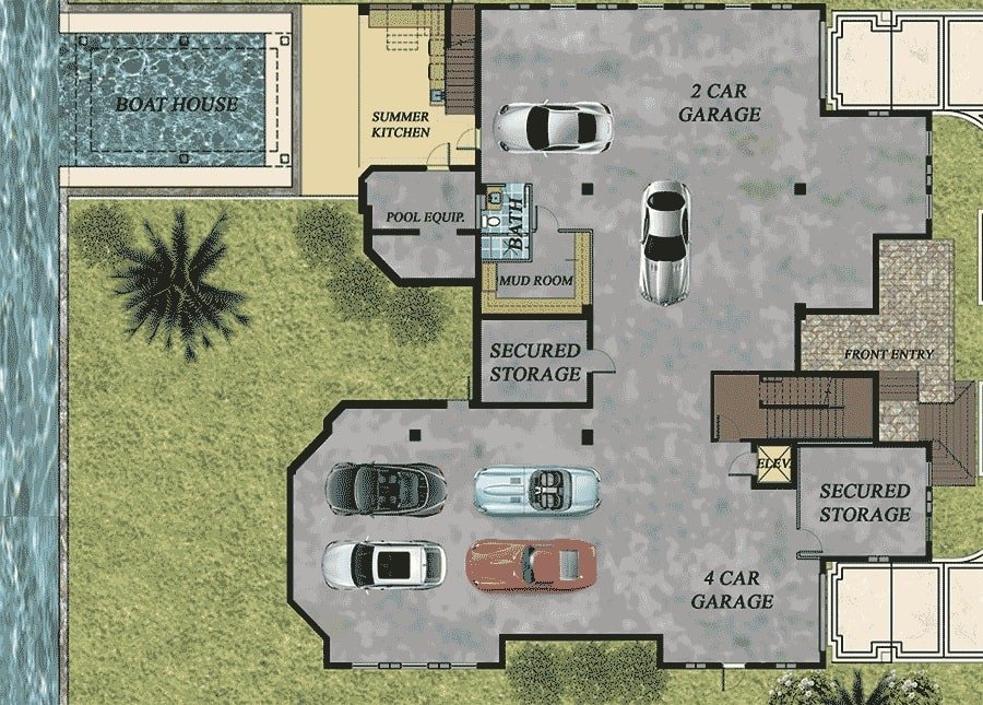 Basement floor plan with garage, summer kitchen, and pool equipment space.