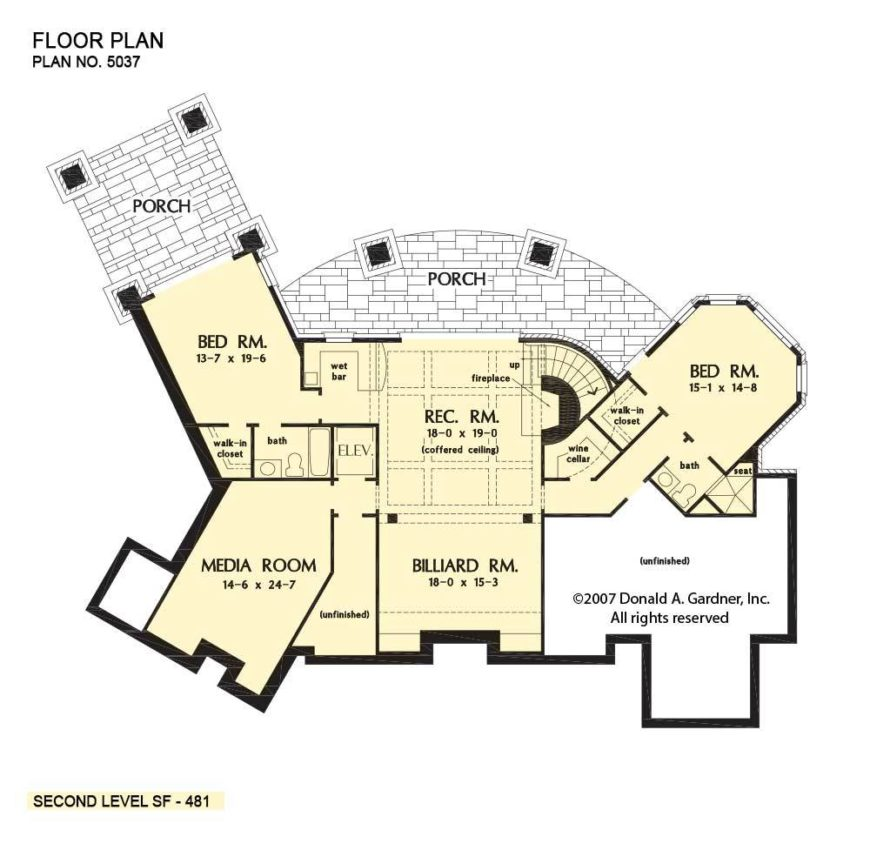 Basement floor plan with two bedrooms, a media room, and a recreation room complete with a billiard room, wet bar, and wine cellar.