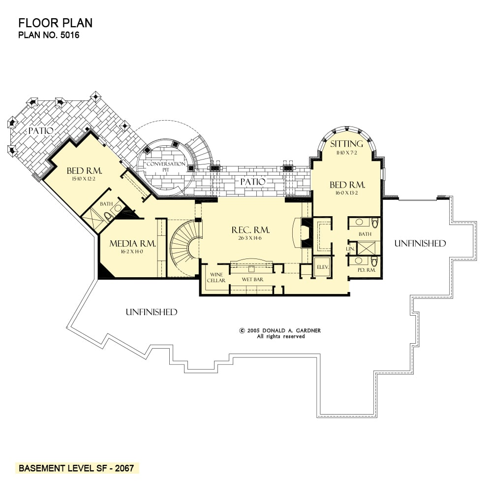 Basement floor plan with two bedrooms, a media room, and a recreation room that extends to the rear patio.