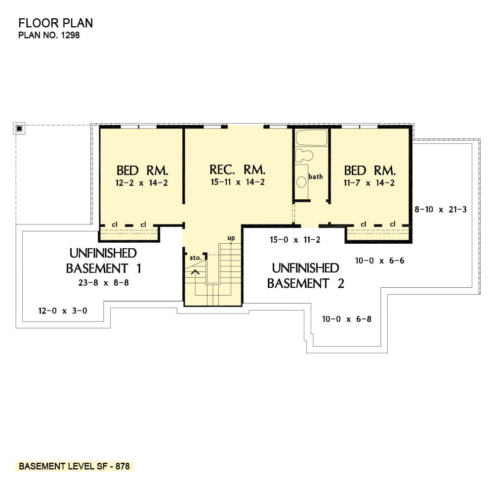 Basement floor plan with two bedrooms, a shared bath, and a large recreation room.