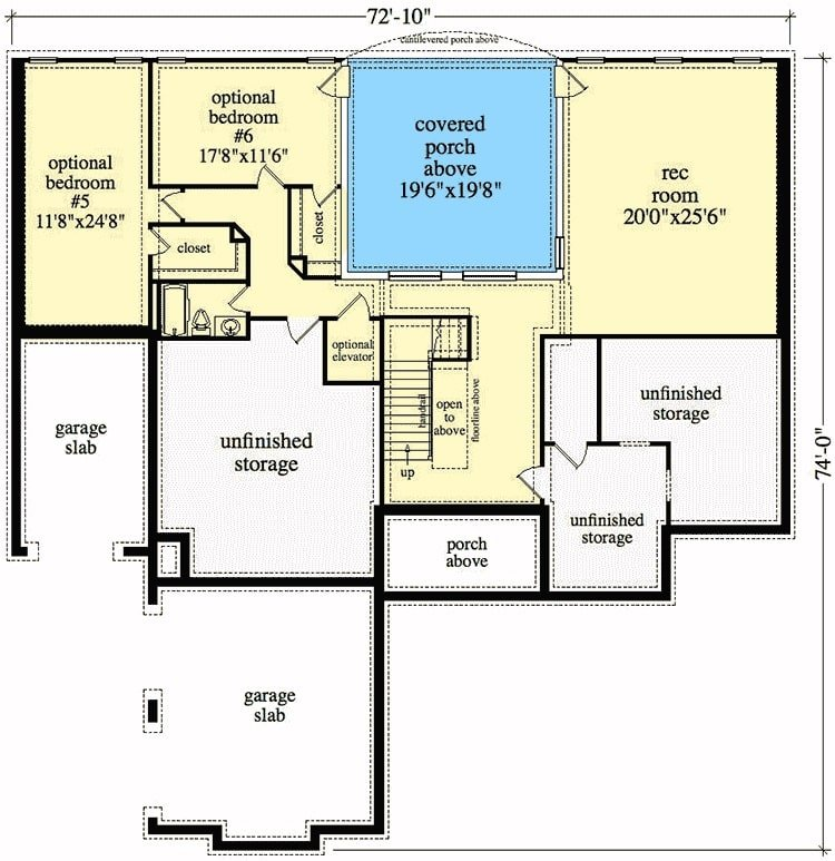 Basement floor plan with two additional bedrooms and a recreation room that opens to a patio.