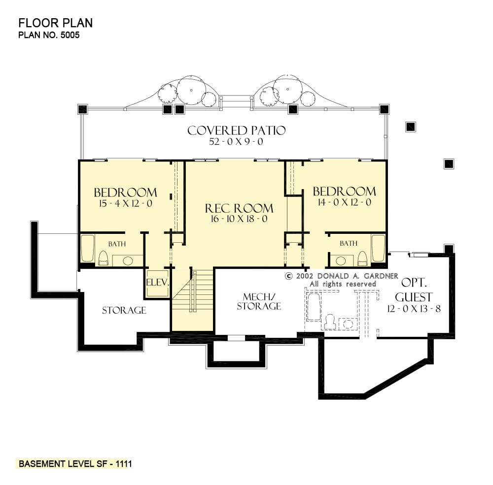 Basement floor plan with two bedrooms and a recreation room that extends to the covered patio.