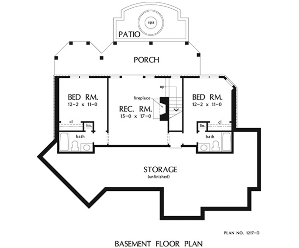 Basement floor plan with two bedrooms, and a recreation room that opens out to the porch.