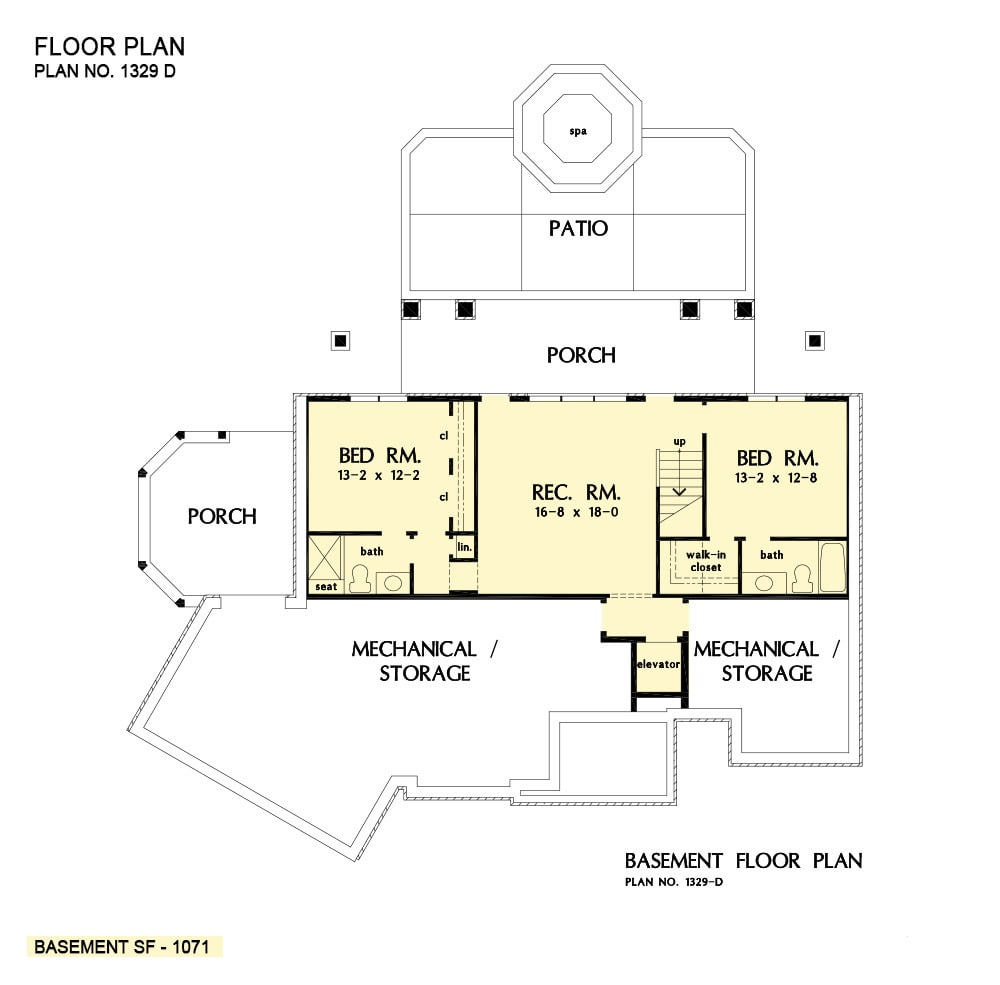 Basement floor plan with two bedrooms, a recreation room, and rear porch.