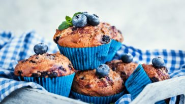 A stack of freshly-baked blueberry muffins.