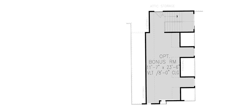 Bonus floor plan with attic storage and a staircase leading down the main floor.