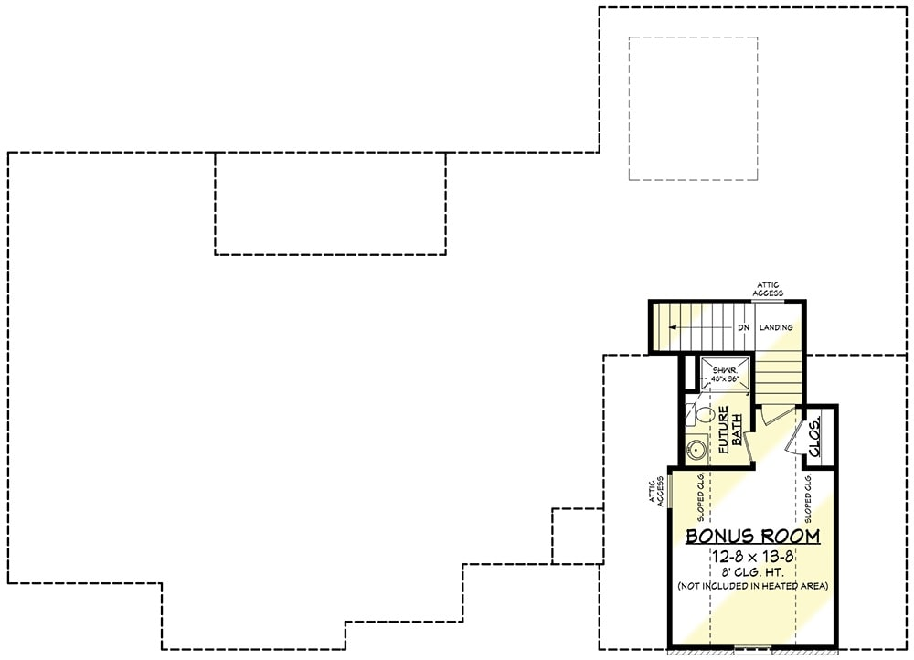 Bonus floor plan with future bath and walk-in closet.