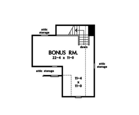 Bonus room floor plan showing the attic storage and staircase leading down the main floor.