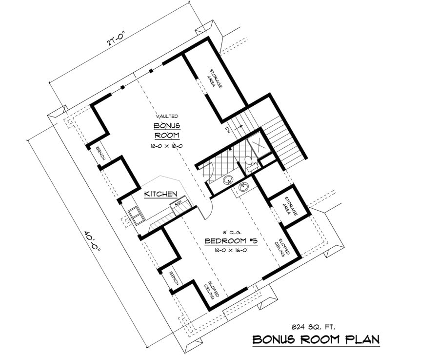 Bonus floor plan with another bedroom and a large bonus room complete with kitchen and full bath.
