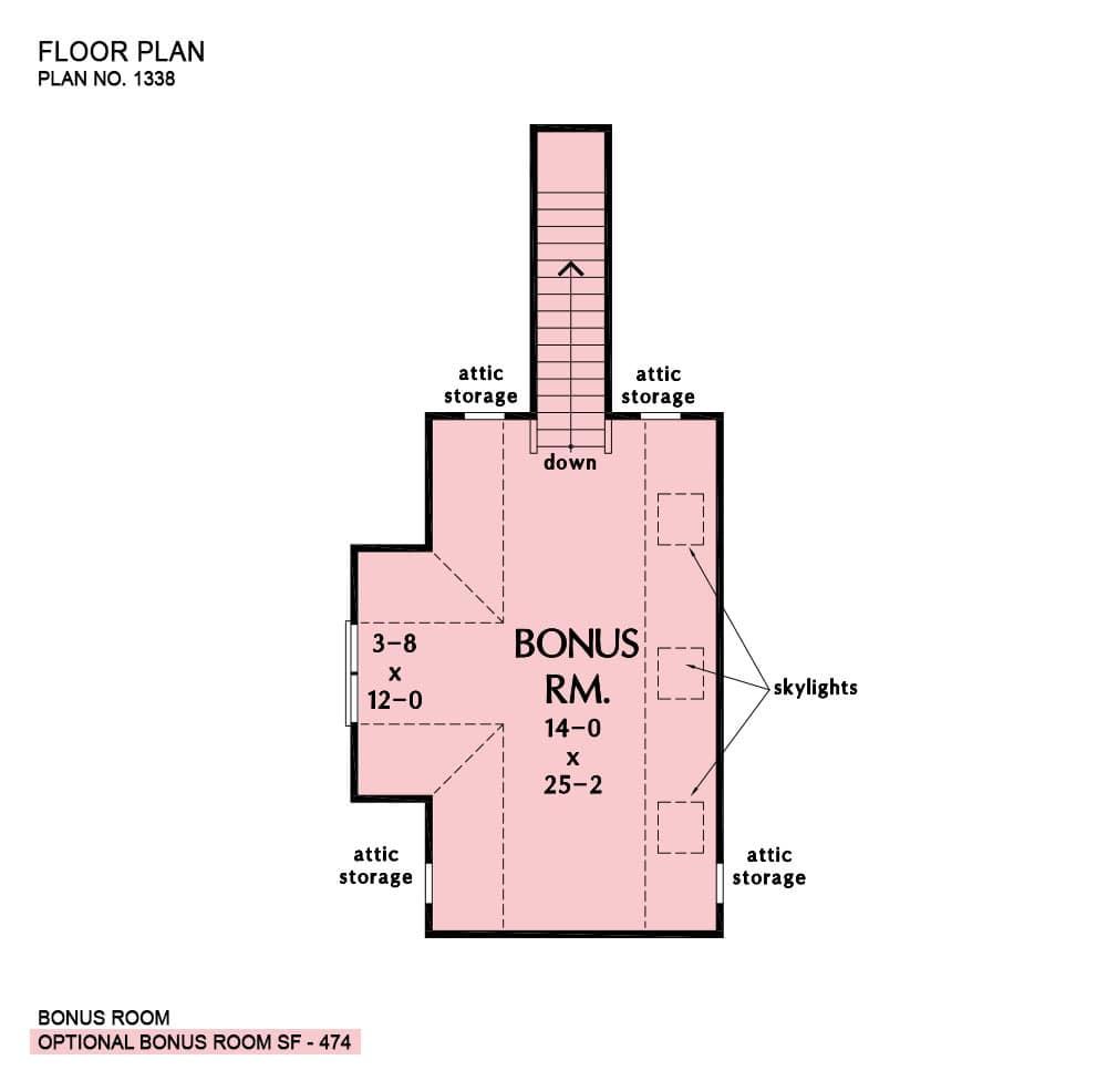 Bonus floor plan with attic storage and skylights.