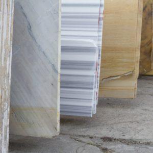 A close look at slabs of granite on display.