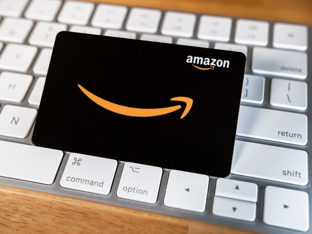 A look at an Amazon gift card on a keyboard.