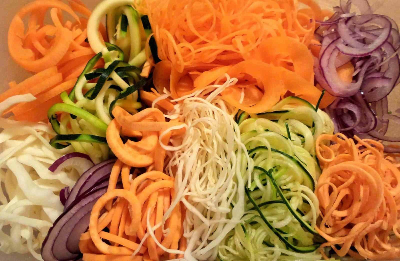 A bunch of spiralized veggies.