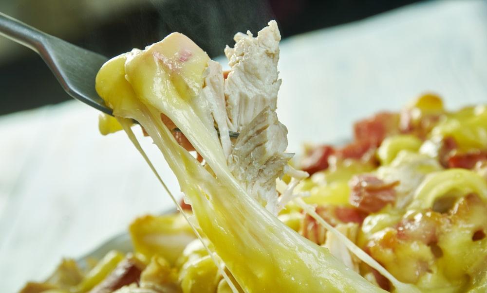 A close look at a chicken cordon bleu casserole.