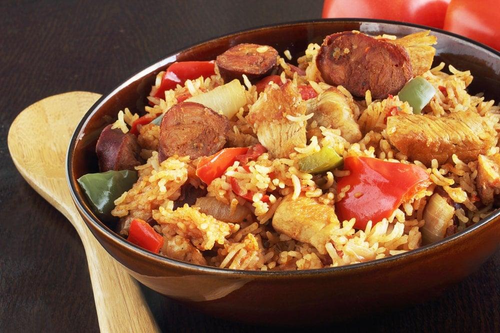 A bowl of freshly-cooked chicken jambalaya.