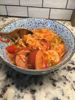 A fresh bowl of chicken jambalaya.