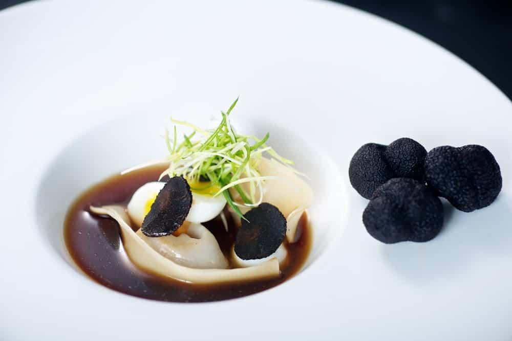 A serving of Chinese truffle dumpling gourmet.