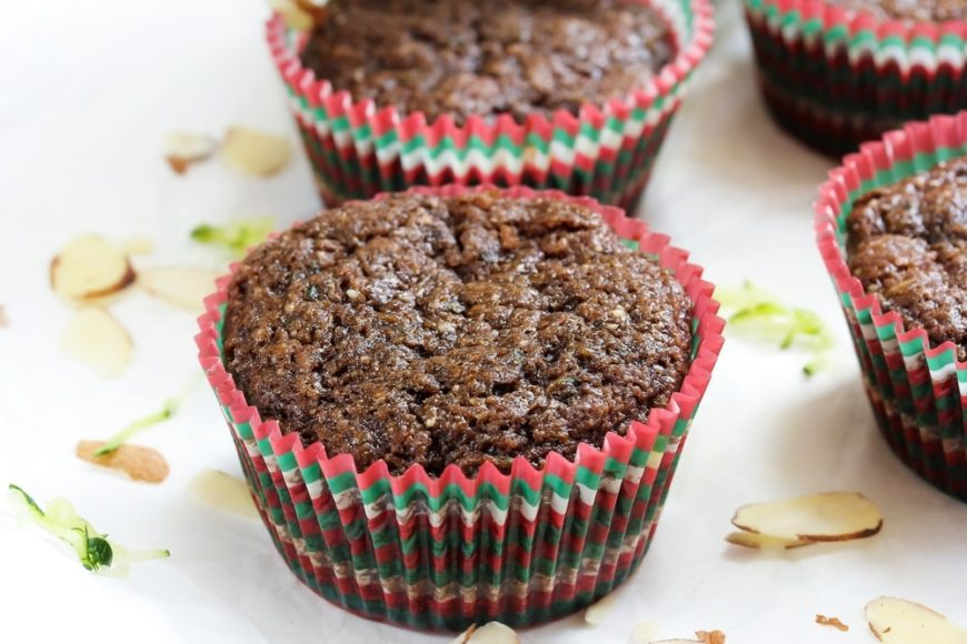 A close look at pieces of chocolate zucchini muffins.