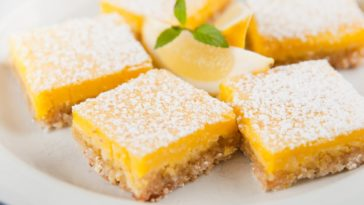 A close look at a plate of lemon bars with powdered sugar toppings.